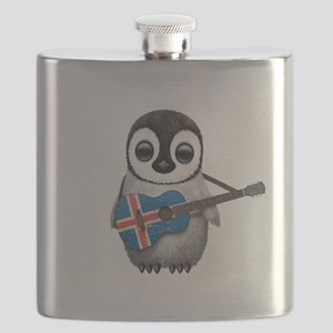 Baby Penguin Playing Icelandic Flag Guitar Flask